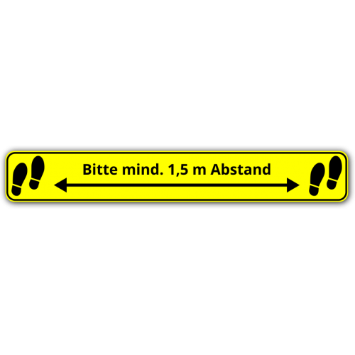 "Bodenaufkleber ""Bitte mind. 1,5 m Abstand"""