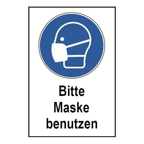 """Kombischild """"Bitte Maske benutzen"""", praxisbewährt"""