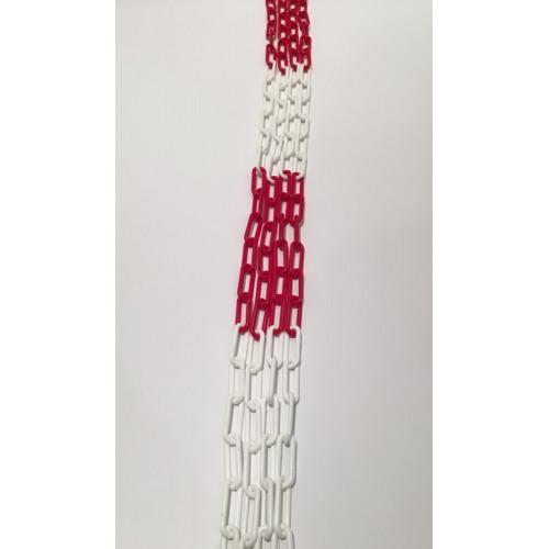 Der Klassiker: Absperrkette aus Kunststoff, 6 mm, rot-weiß