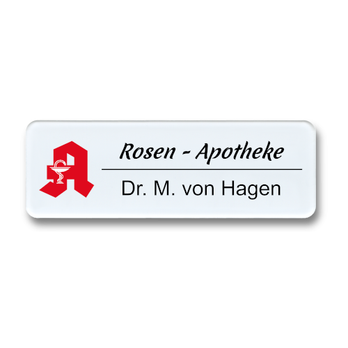 Namensschild aus Plexiglas, Rundeck, mit Logo nach Wunsch