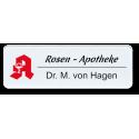 Namensschild aus Plexiglas, Rundeck, mit Logo