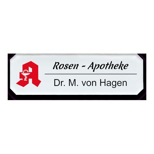 Namensschild aus Plexiglas, Achteck, mit Logo nach Wunsch