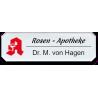 Namensschild aus Plexiglas, Achteck, mit Logo