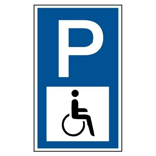 "Parkplatzschild, Symbol ""Rollstuhlfahrer"""