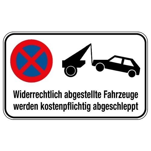 Kombischild: Abschleppsymbol mit Verkehrschild u. Hinweistext